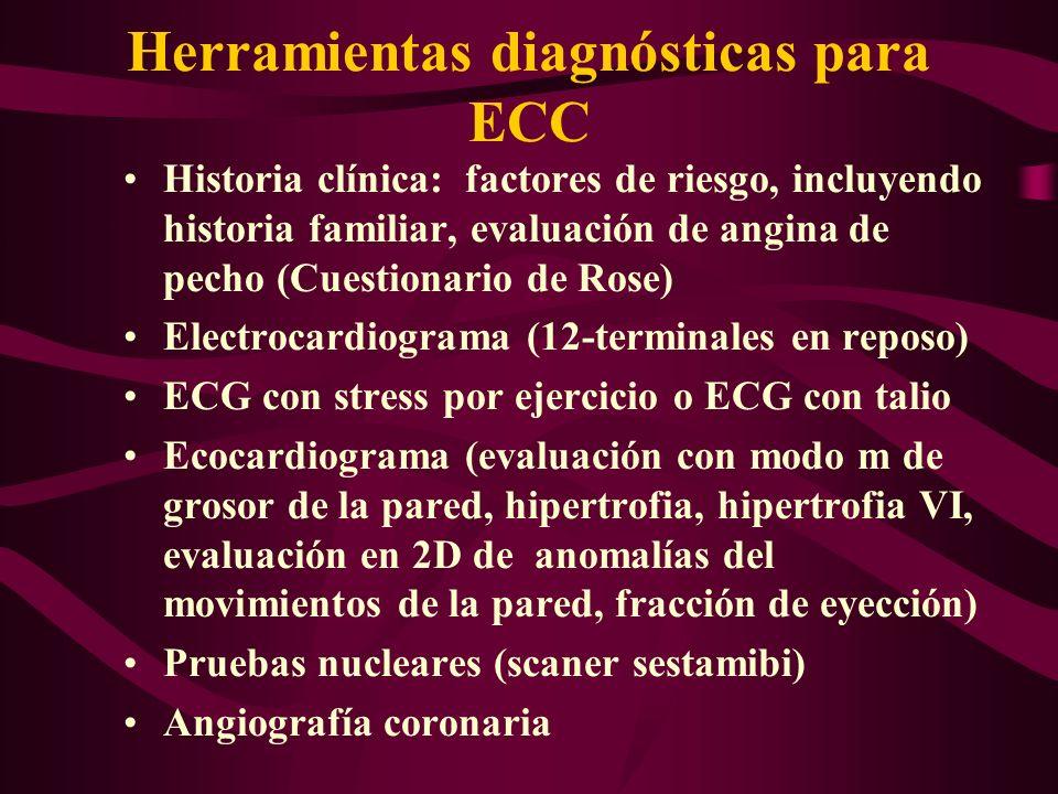 Herramientas diagnósticas para ECC Historia clínica: factores de riesgo, incluyendo historia familiar, evaluación de angina de pecho (Cuestionario de