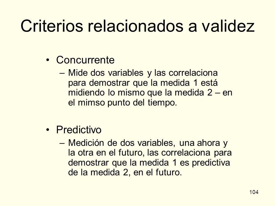 104 Criterios relacionados a validez Concurrente –Mide dos variables y las correlaciona para demostrar que la medida 1 está midiendo lo mismo que la m