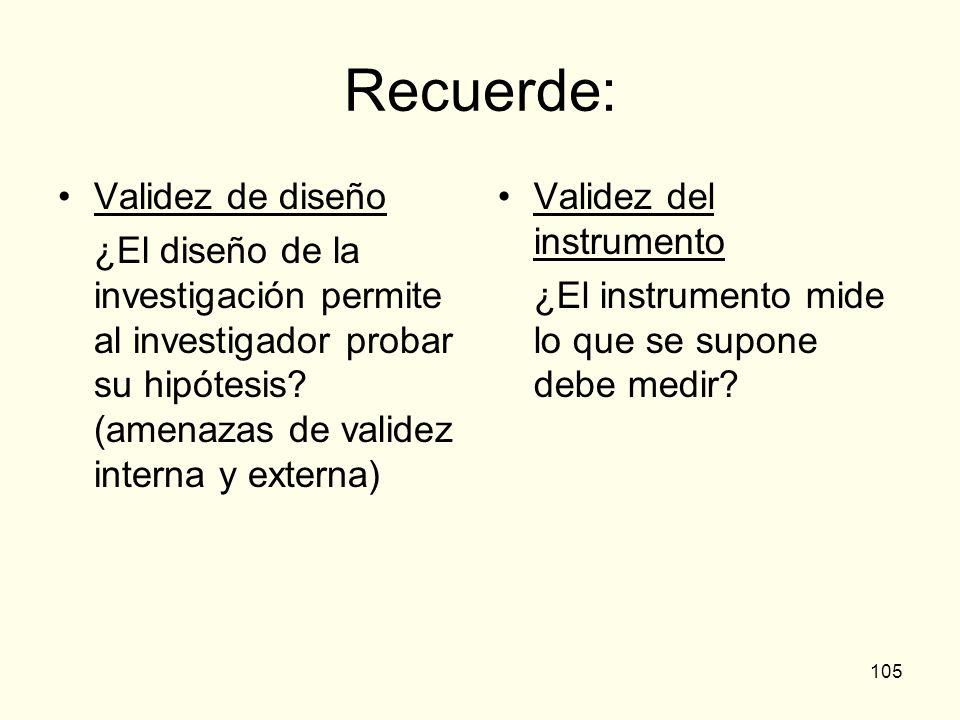 105 Recuerde: Validez de diseño ¿El diseño de la investigación permite al investigador probar su hipótesis? (amenazas de validez interna y externa) Va