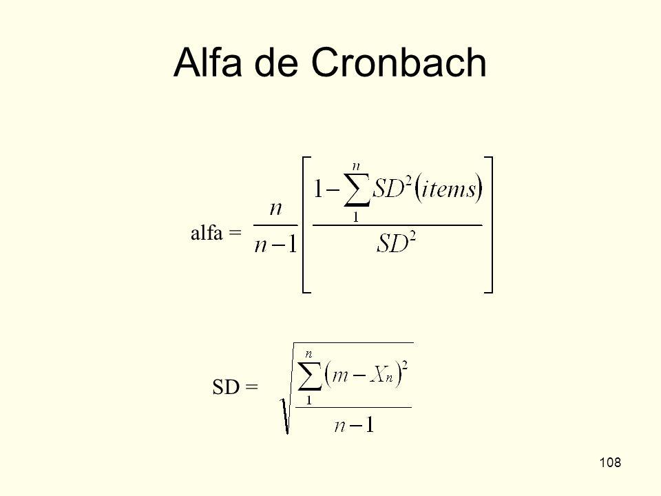 108 Alfa de Cronbach SD = alfa =