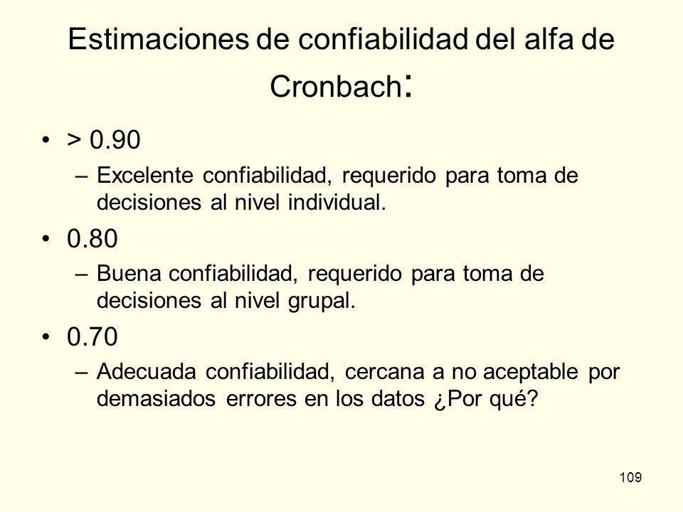 109 Estimaciones de confiabilidad del alfa de Cronbach : > 0.90 –Excelente confiabilidad, requerido para toma de decisiones al nivel individual. 0.80