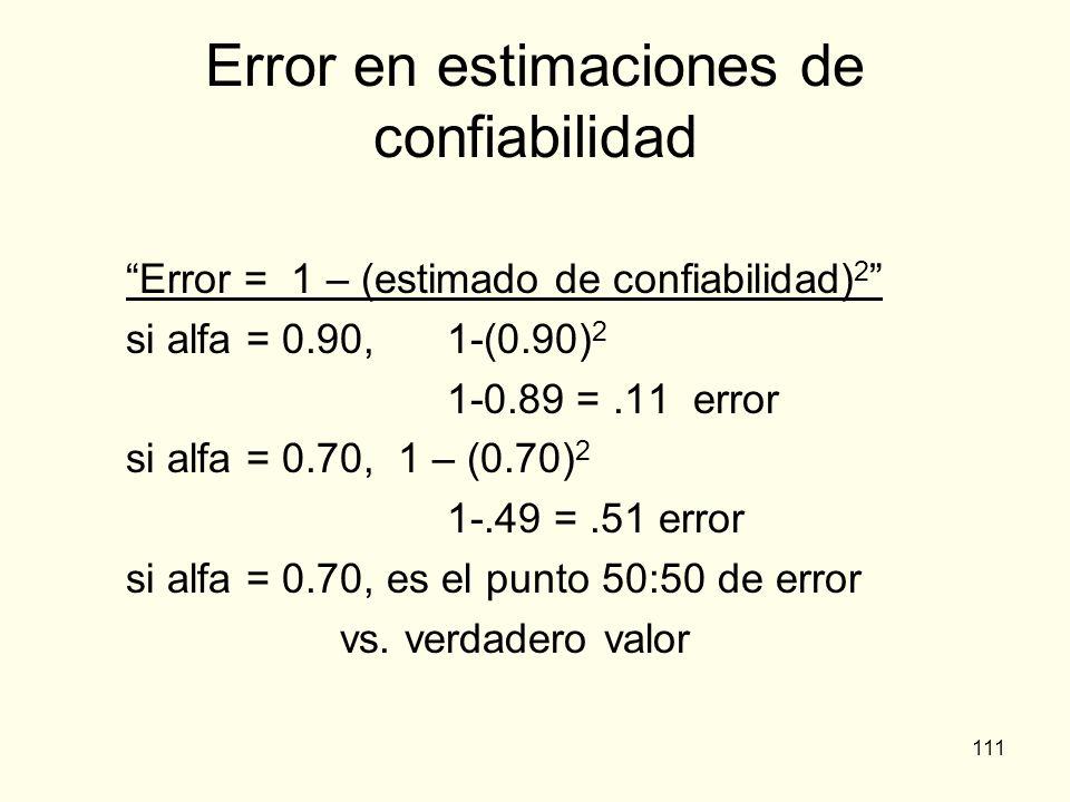 111 Error en estimaciones de confiabilidad Error = 1 – (estimado de confiabilidad) 2 si alfa = 0.90,1-(0.90) 2 1-0.89 =.11 error si alfa = 0.70, 1 – (