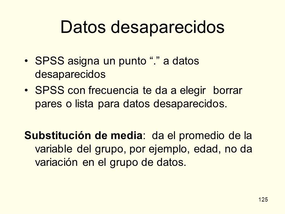 125 Datos desaparecidos SPSS asigna un punto. a datos desaparecidos SPSS con frecuencia te da a elegir borrar pares o lista para datos desaparecidos.