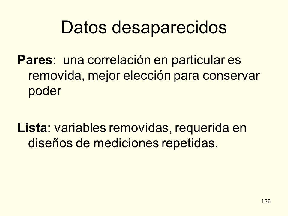 126 Datos desaparecidos Pares: una correlación en particular es removida, mejor elección para conservar poder Lista: variables removidas, requerida en