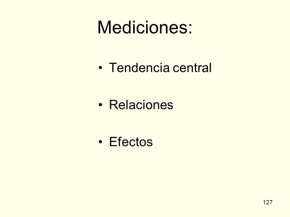 127 Mediciones: Tendencia central Relaciones Efectos