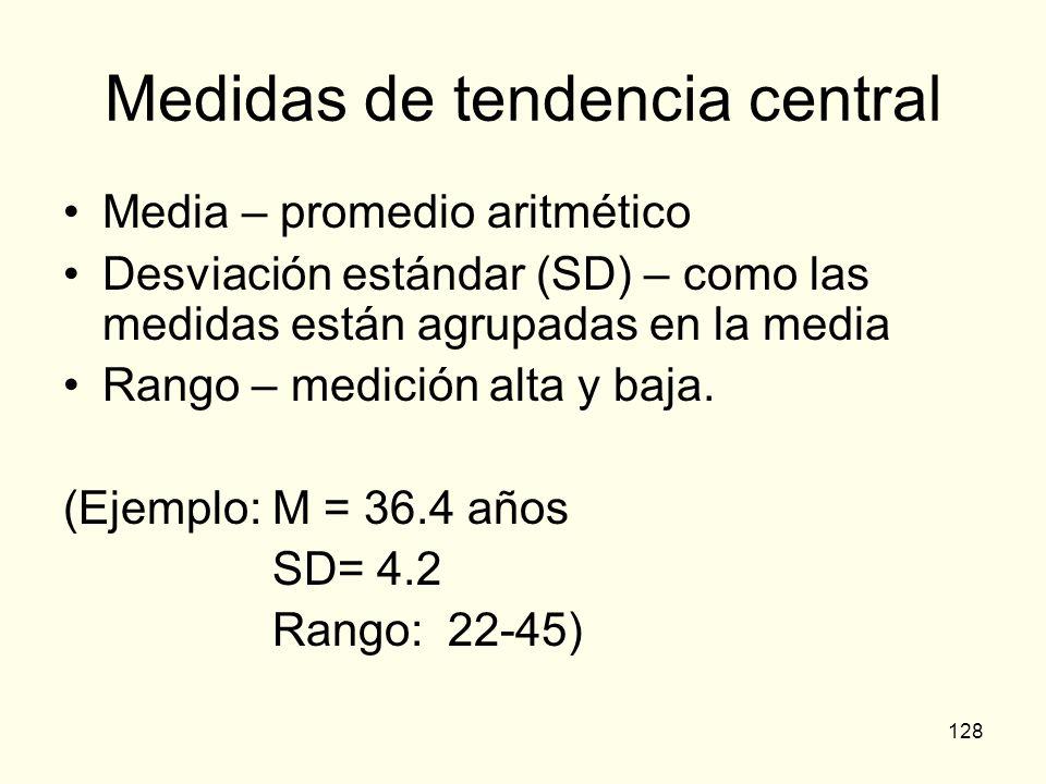 128 Medidas de tendencia central Media – promedio aritmético Desviación estándar (SD) – como las medidas están agrupadas en la media Rango – medición