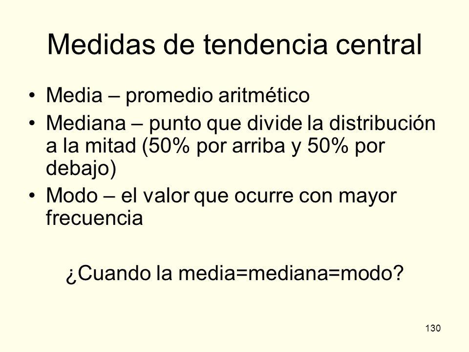 130 Medidas de tendencia central Media – promedio aritmético Mediana – punto que divide la distribución a la mitad (50% por arriba y 50% por debajo) M