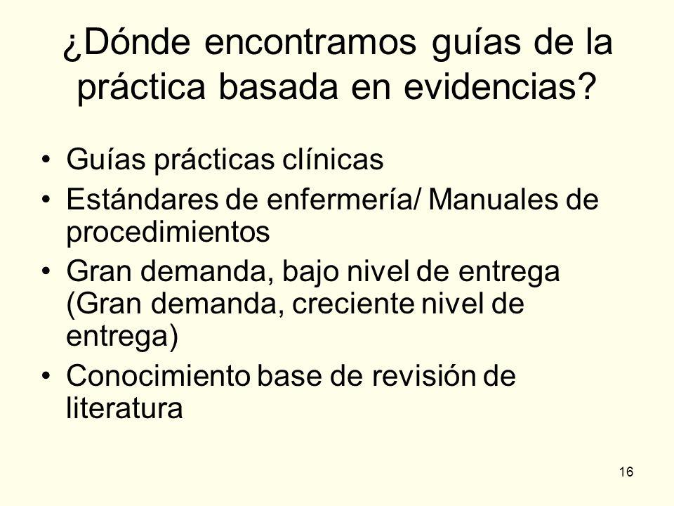 16 ¿Dónde encontramos guías de la práctica basada en evidencias? Guías prácticas clínicas Estándares de enfermería/ Manuales de procedimientos Gran de