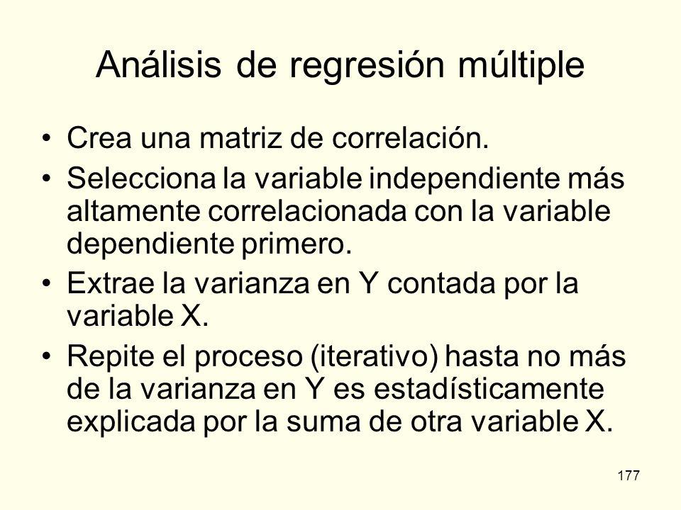 177 Análisis de regresión múltiple Crea una matriz de correlación. Selecciona la variable independiente más altamente correlacionada con la variable d