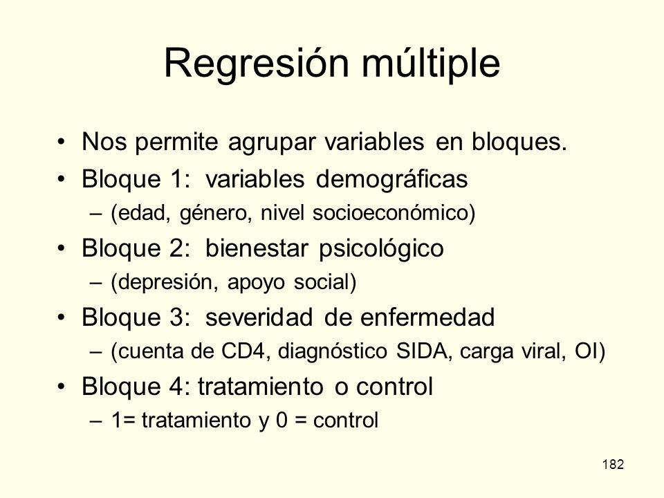 182 Regresión múltiple Nos permite agrupar variables en bloques. Bloque 1: variables demográficas –(edad, género, nivel socioeconómico) Bloque 2: bien