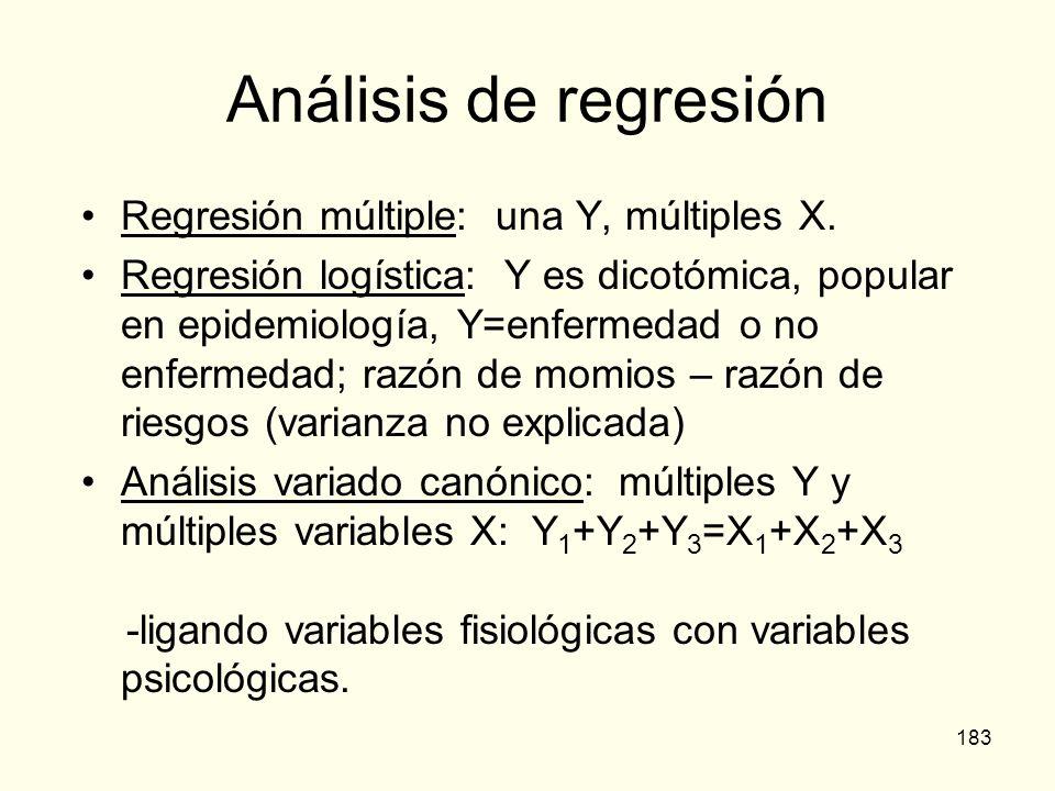 183 Análisis de regresión Regresión múltiple: una Y, múltiples X. Regresión logística: Y es dicotómica, popular en epidemiología, Y=enfermedad o no en