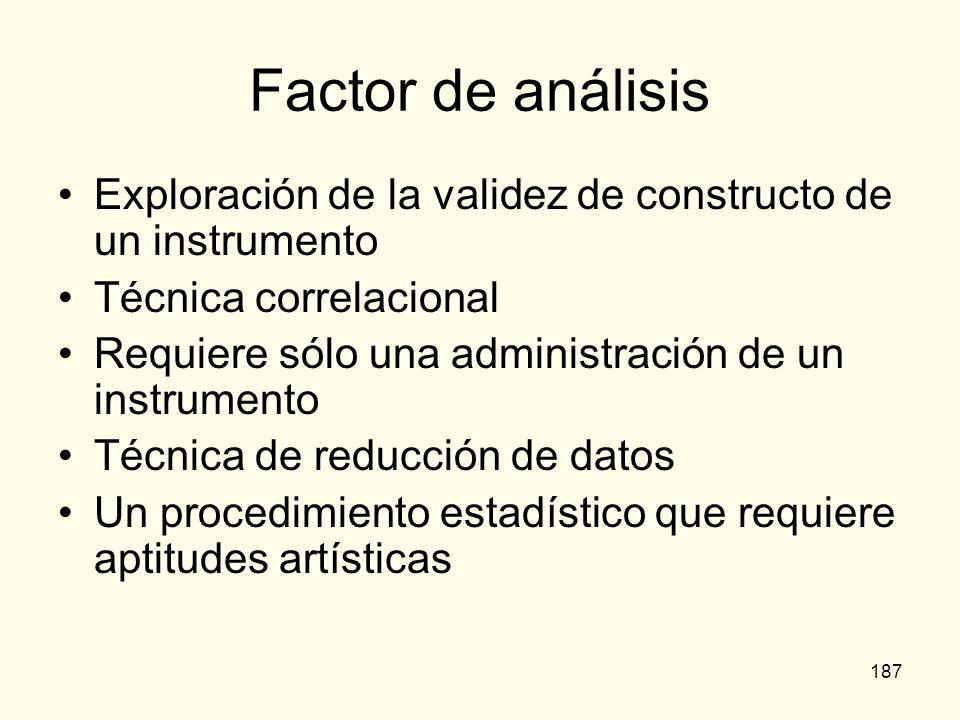 187 Factor de análisis Exploración de la validez de constructo de un instrumento Técnica correlacional Requiere sólo una administración de un instrume