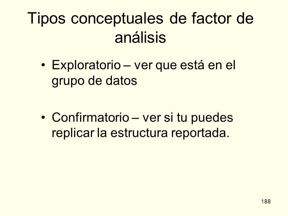 188 Tipos conceptuales de factor de análisis Exploratorio – ver que está en el grupo de datos Confirmatorio – ver si tu puedes replicar la estructura