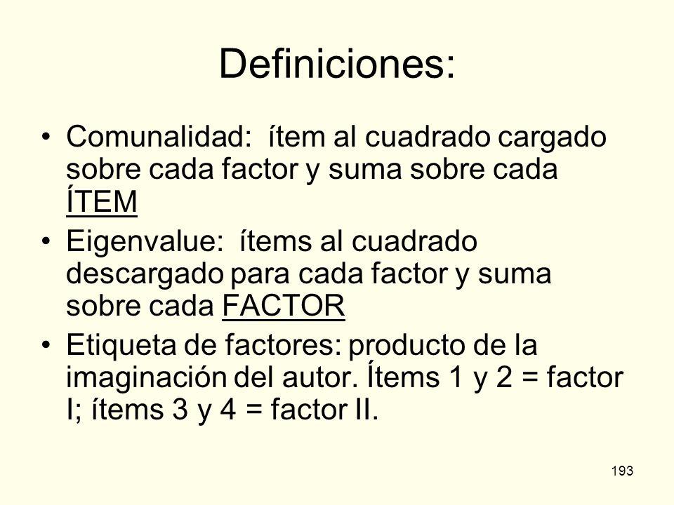 193 Definiciones: Comunalidad: ítem al cuadrado cargado sobre cada factor y suma sobre cada ÍTEM Eigenvalue: ítems al cuadrado descargado para cada fa