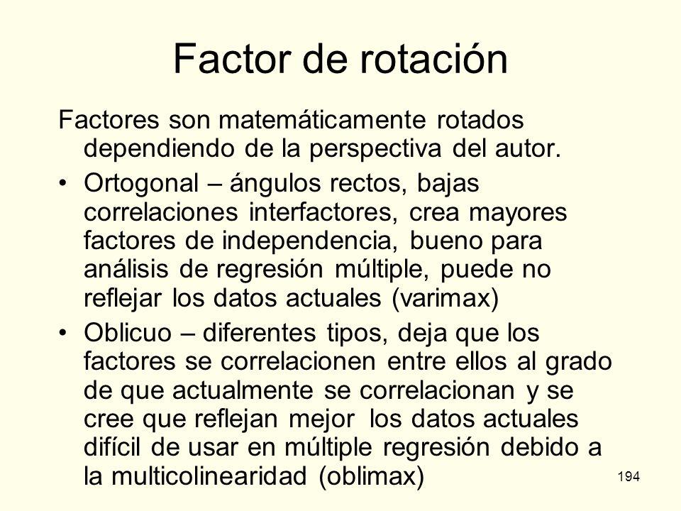 194 Factor de rotación Factores son matemáticamente rotados dependiendo de la perspectiva del autor. Ortogonal – ángulos rectos, bajas correlaciones i