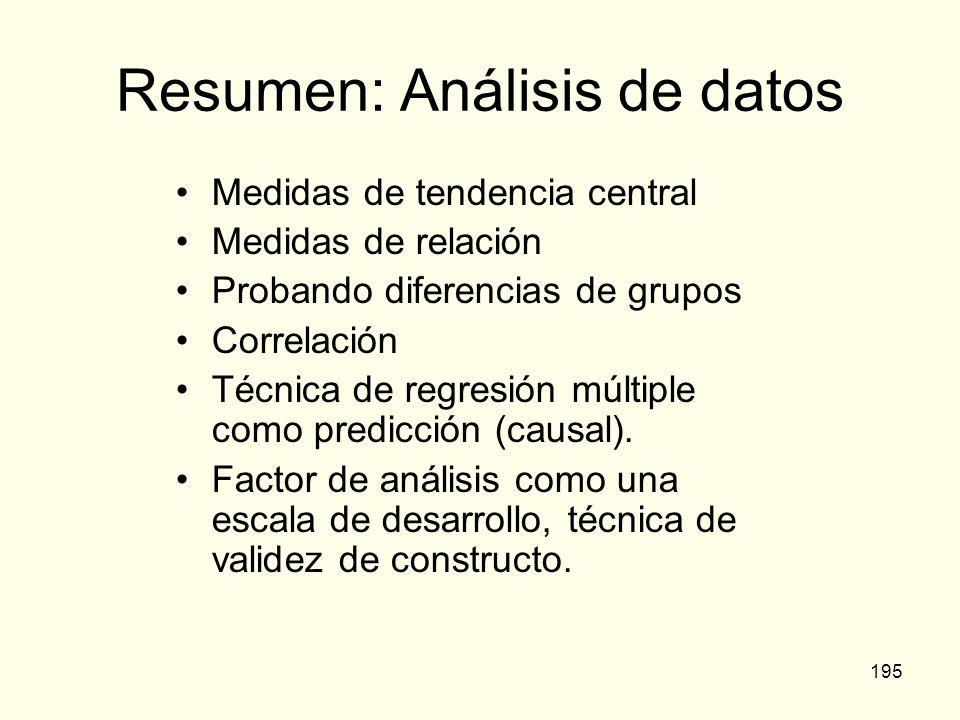 195 Resumen: Análisis de datos Medidas de tendencia central Medidas de relación Probando diferencias de grupos Correlación Técnica de regresión múltip