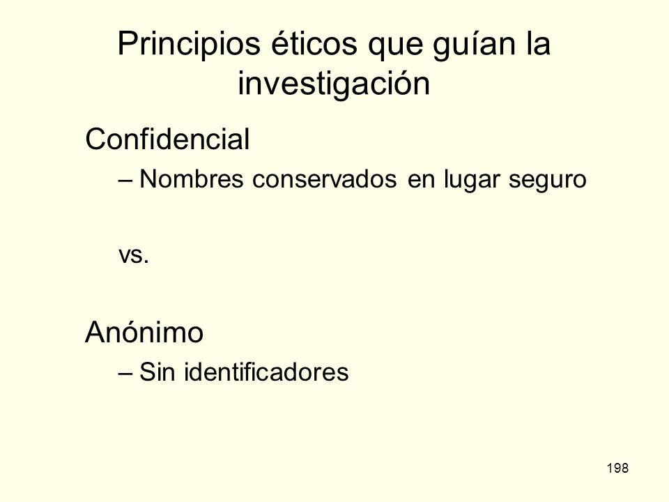 198 Principios éticos que guían la investigación Confidencial –Nombres conservados en lugar seguro vs. Anónimo –Sin identificadores