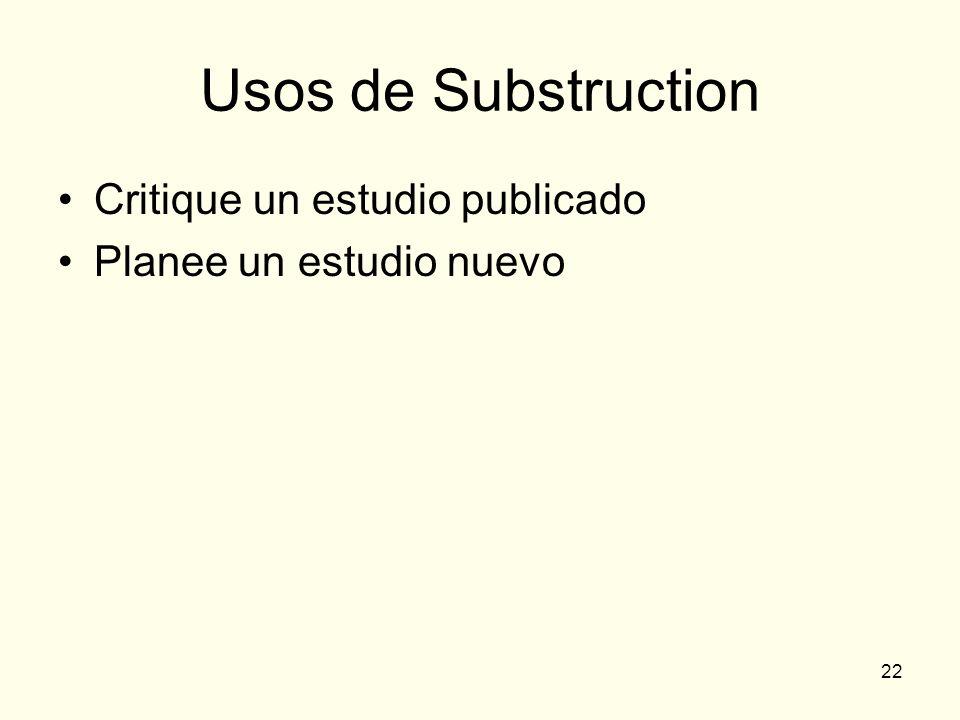 22 Usos de Substruction Critique un estudio publicado Planee un estudio nuevo