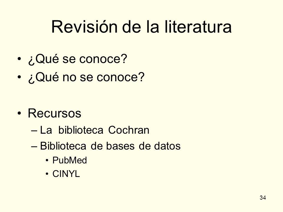 34 Revisión de la literatura ¿Qué se conoce? ¿Qué no se conoce? Recursos –La biblioteca Cochran –Biblioteca de bases de datos PubMed CINYL