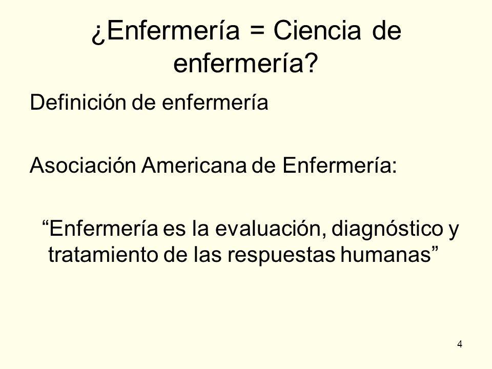 4 ¿Enfermería = Ciencia de enfermería? Definición de enfermería Asociación Americana de Enfermería: Enfermería es la evaluación, diagnóstico y tratami