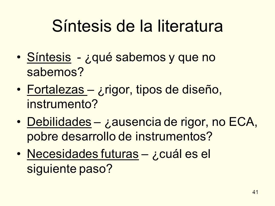 41 Síntesis de la literatura Síntesis - ¿qué sabemos y que no sabemos? Fortalezas – ¿rigor, tipos de diseño, instrumento? Debilidades – ¿ausencia de r
