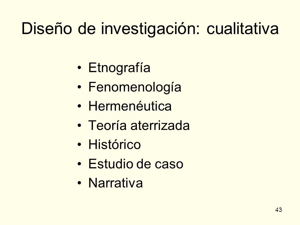 43 Diseño de investigación: cualitativa Etnografía Fenomenología Hermenéutica Teoría aterrizada Histórico Estudio de caso Narrativa
