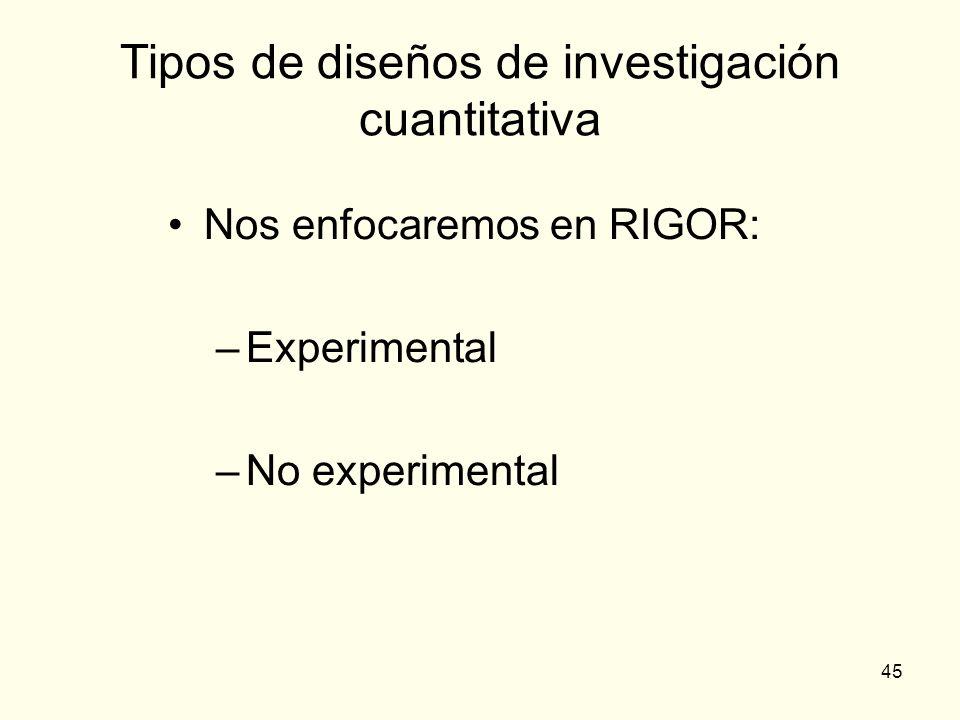 45 Tipos de diseños de investigación cuantitativa Nos enfocaremos en RIGOR: –Experimental –No experimental