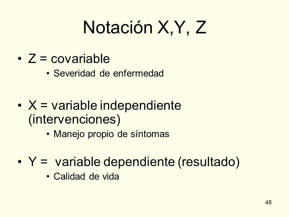 46 Notación X,Y, Z Z = covariable Severidad de enfermedad X = variable independiente (intervenciones) Manejo propio de síntomas Y = variable dependien