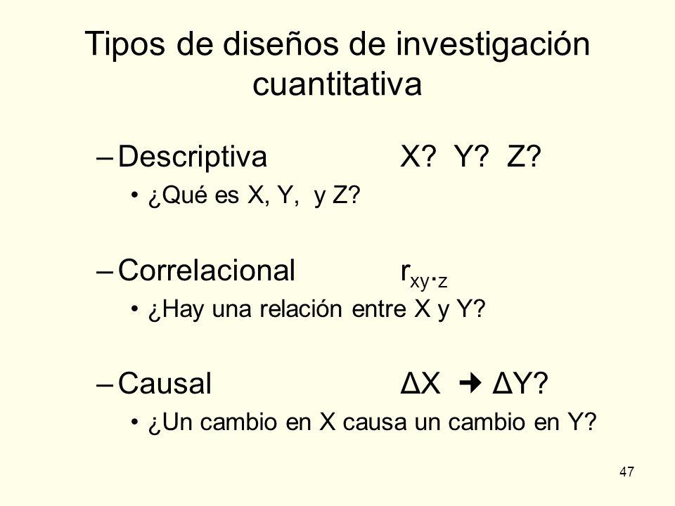 47 Tipos de diseños de investigación cuantitativa –DescriptivaX? Y? Z? ¿Qué es X, Y, y Z? –Correlacionalr xy. z ¿Hay una relación entre X y Y? –Causal