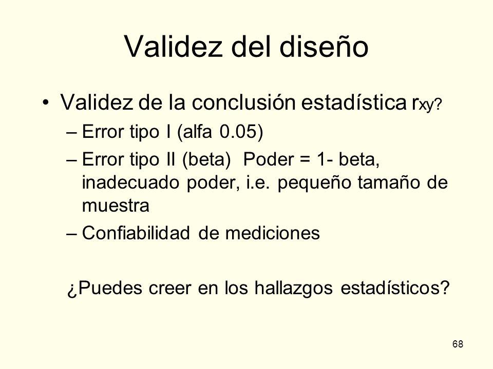 68 Validez del diseño Validez de la conclusión estadística r xy? –Error tipo I (alfa 0.05) –Error tipo II (beta) Poder = 1- beta, inadecuado poder, i.
