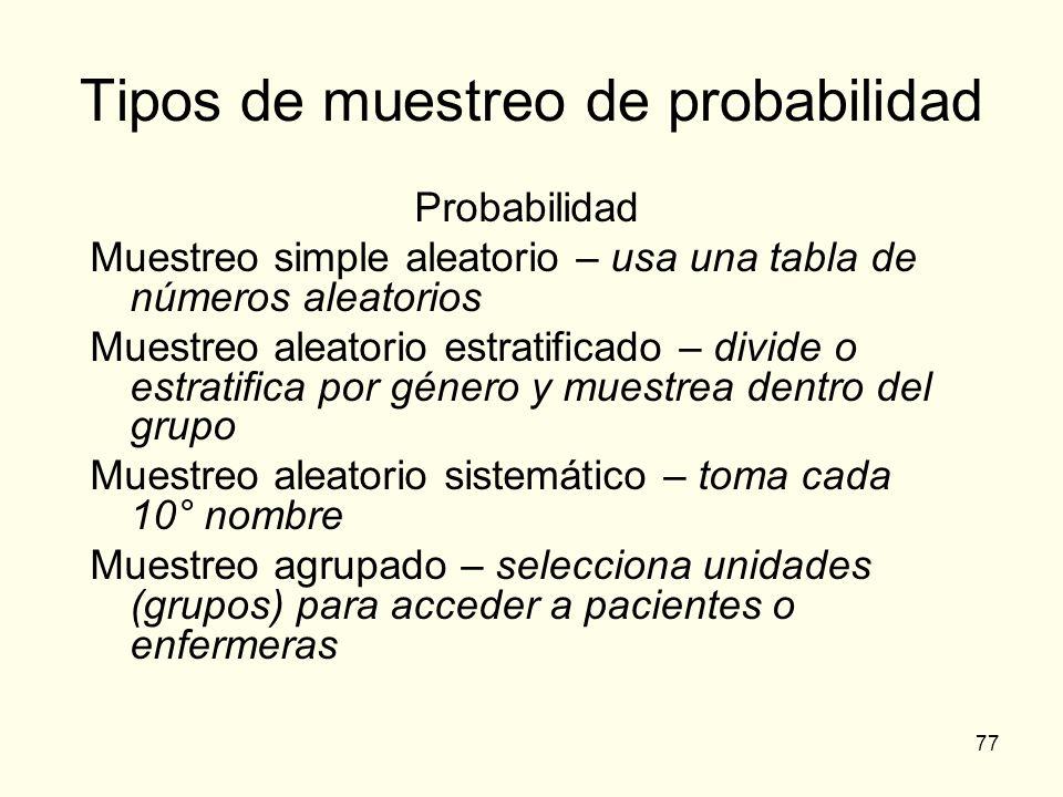 77 Tipos de muestreo de probabilidad Probabilidad Muestreo simple aleatorio – usa una tabla de números aleatorios Muestreo aleatorio estratificado – d