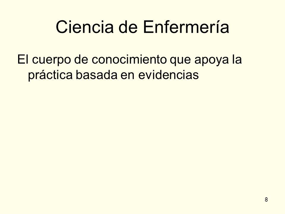 8 Ciencia de Enfermería El cuerpo de conocimiento que apoya la práctica basada en evidencias