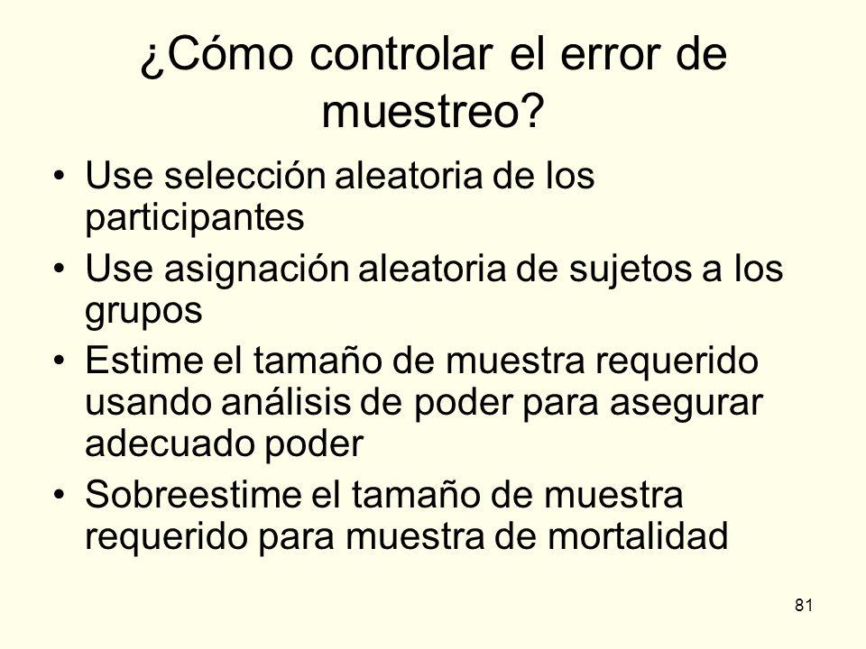 81 ¿Cómo controlar el error de muestreo? Use selección aleatoria de los participantes Use asignación aleatoria de sujetos a los grupos Estime el tamañ