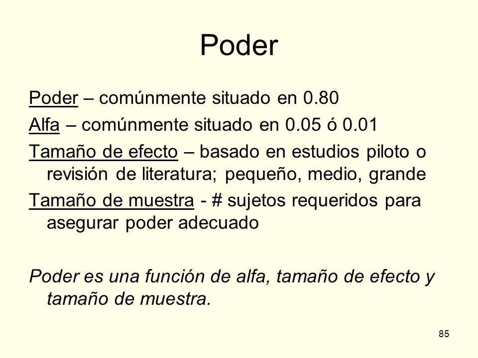 85 Poder Poder – comúnmente situado en 0.80 Alfa – comúnmente situado en 0.05 ó 0.01 Tamaño de efecto – basado en estudios piloto o revisión de litera