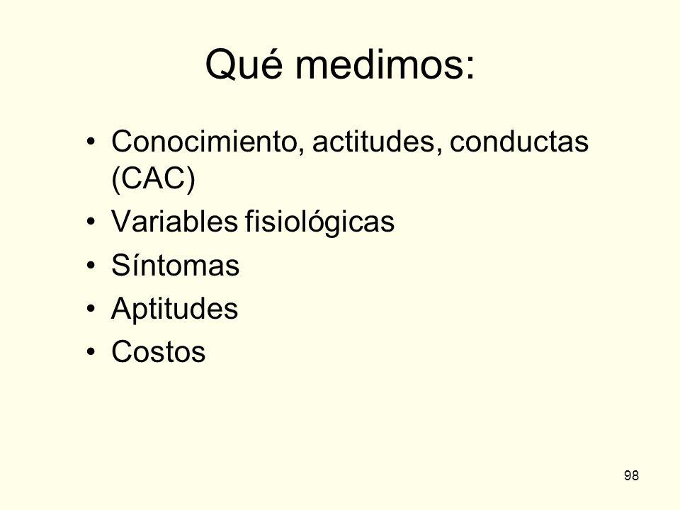 98 Qué medimos: Conocimiento, actitudes, conductas (CAC) Variables fisiológicas Síntomas Aptitudes Costos