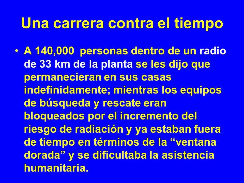 Una carrera contra el tiempo A 140,000 personas dentro de un radio de 33 km de la planta se les dijo que permanecieran en sus casas indefinidamente; m