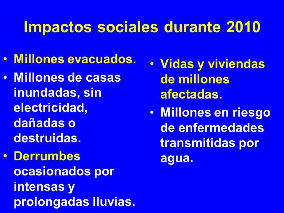Impactos sociales durante 2010 (Cont…) Casas e infraestructura dañada o destruida.