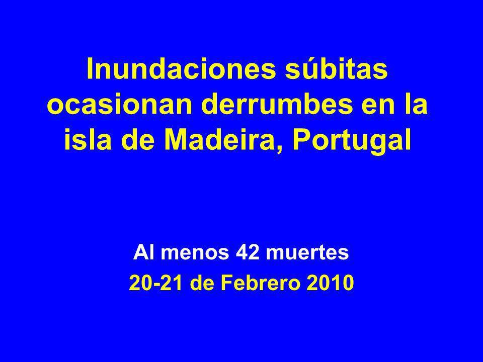 Localización de Madeira Apoyo enviado por Lisboa (al domingo) 1 fragata Corte Real 2 aviones C-130 2 helicópteros 56 oficiales de policía 36 bomberos y varios equipos de rescate