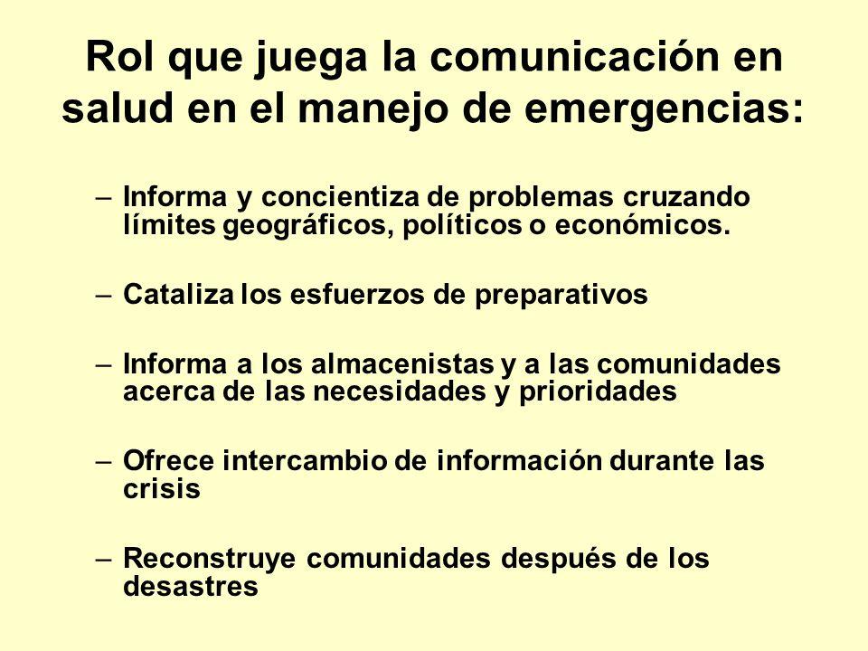 Eventos recientes globales demostraron que mejores actividades de comunicación en salud son necesarias, antes, durante y después de emergencias, especialmente en las primeras 24 horas, ya que son las más críticas.