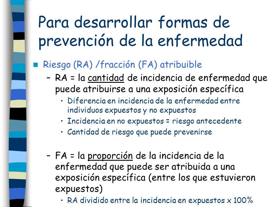 Para desarrollar formas de prevención de la enfermedad Riesgo (RA) /fracción (FA) atribuible –RA = la cantidad de incidencia de enfermedad que puede a