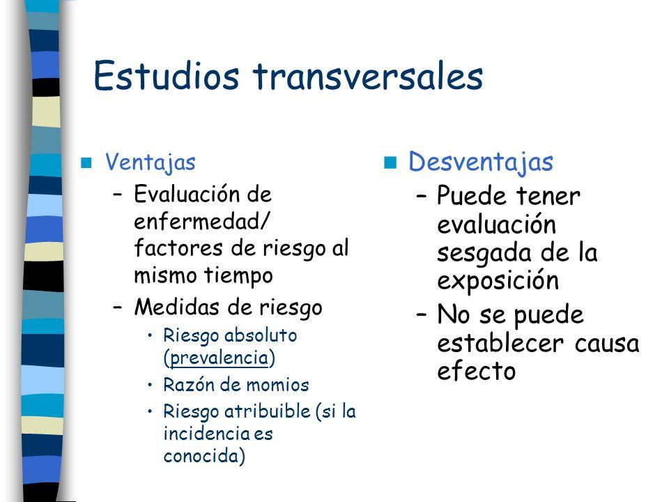 Estudios transversales Ventajas –Evaluación de enfermedad/ factores de riesgo al mismo tiempo –Medidas de riesgo Riesgo absoluto (prevalencia) Razón d