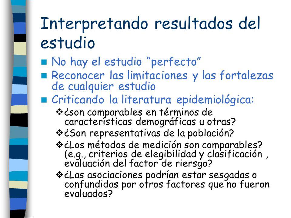 Interpretando resultados del estudio No hay el estudio perfecto Reconocer las limitaciones y las fortalezas de cualquier estudio Criticando la literat