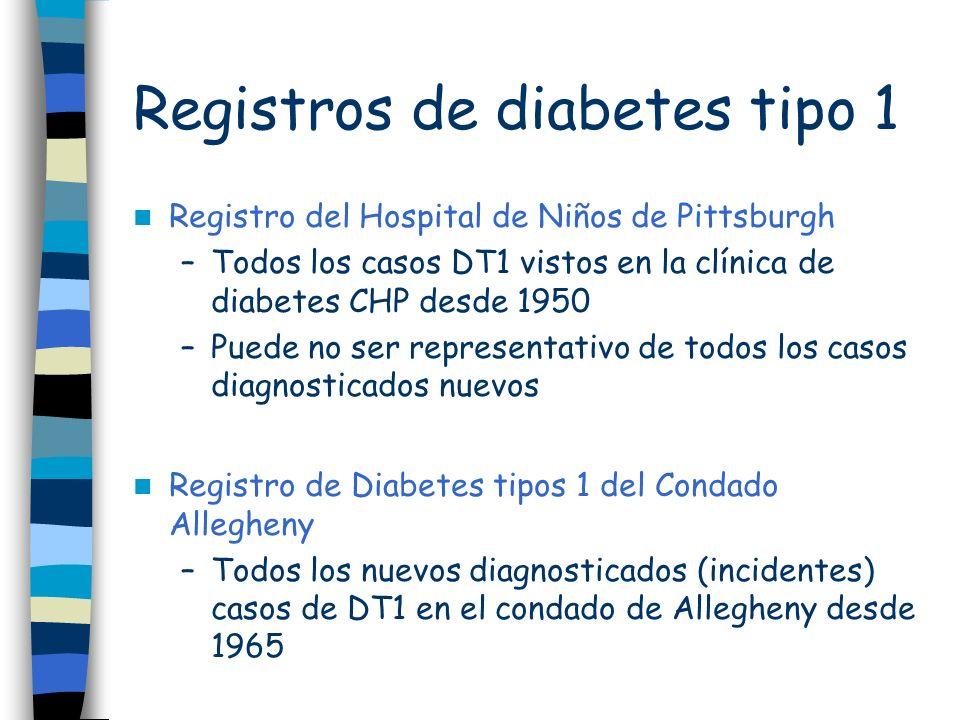 Registros de diabetes tipo 1 Registro del Hospital de Niños de Pittsburgh –Todos los casos DT1 vistos en la clínica de diabetes CHP desde 1950 –Puede