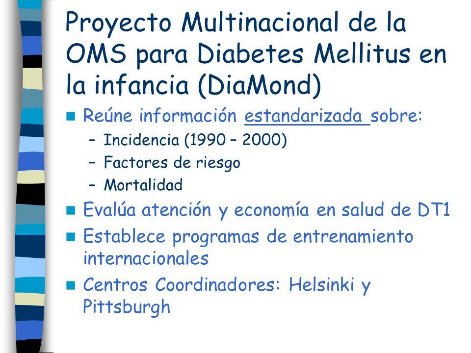 Proyecto Multinacional de la OMS para Diabetes Mellitus en la infancia (DiaMond) Reúne información estandarizada sobre: –Incidencia (1990 – 2000) –Fac