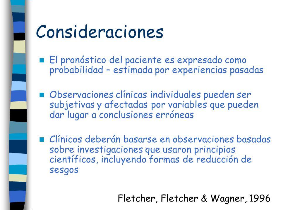 Consideraciones El pronóstico del paciente es expresado como probabilidad – estimada por experiencias pasadas Observaciones clínicas individuales pued