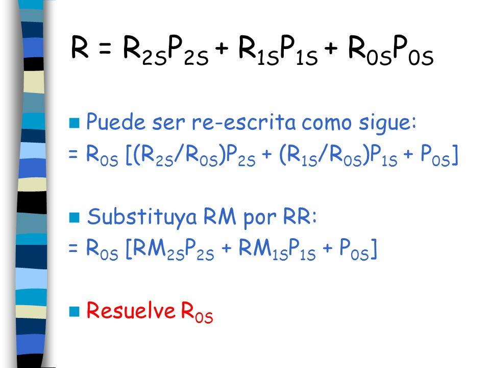 R = R 2S P 2S + R 1S P 1S + R 0S P 0S Puede ser re-escrita como sigue: = R 0S [(R 2S /R 0S )P 2S + (R 1S /R 0S )P 1S + P 0S ] Substituya RM por RR: =