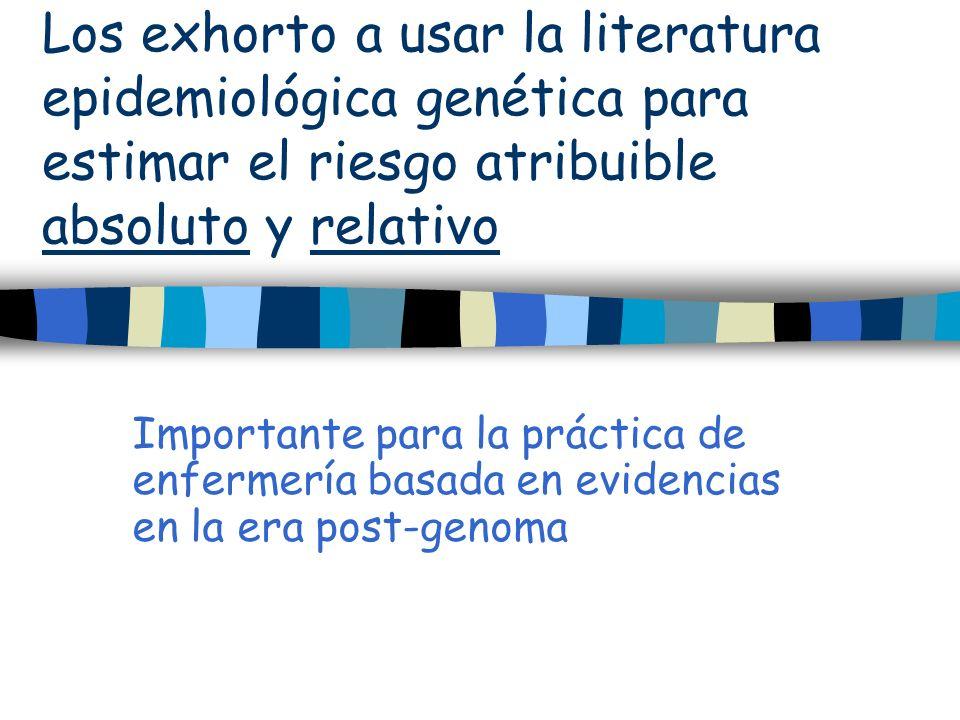 Los exhorto a usar la literatura epidemiológica genética para estimar el riesgo atribuible absoluto y relativo Importante para la práctica de enfermer