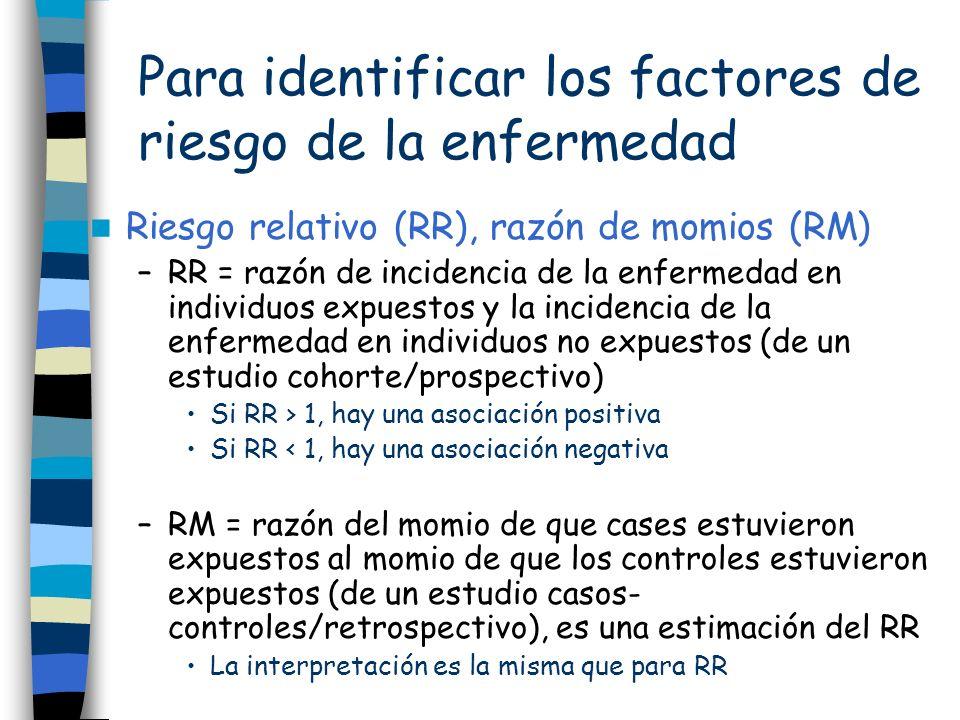 Para identificar los factores de riesgo de la enfermedad Riesgo relativo (RR), razón de momios (RM) –RR = razón de incidencia de la enfermedad en indi