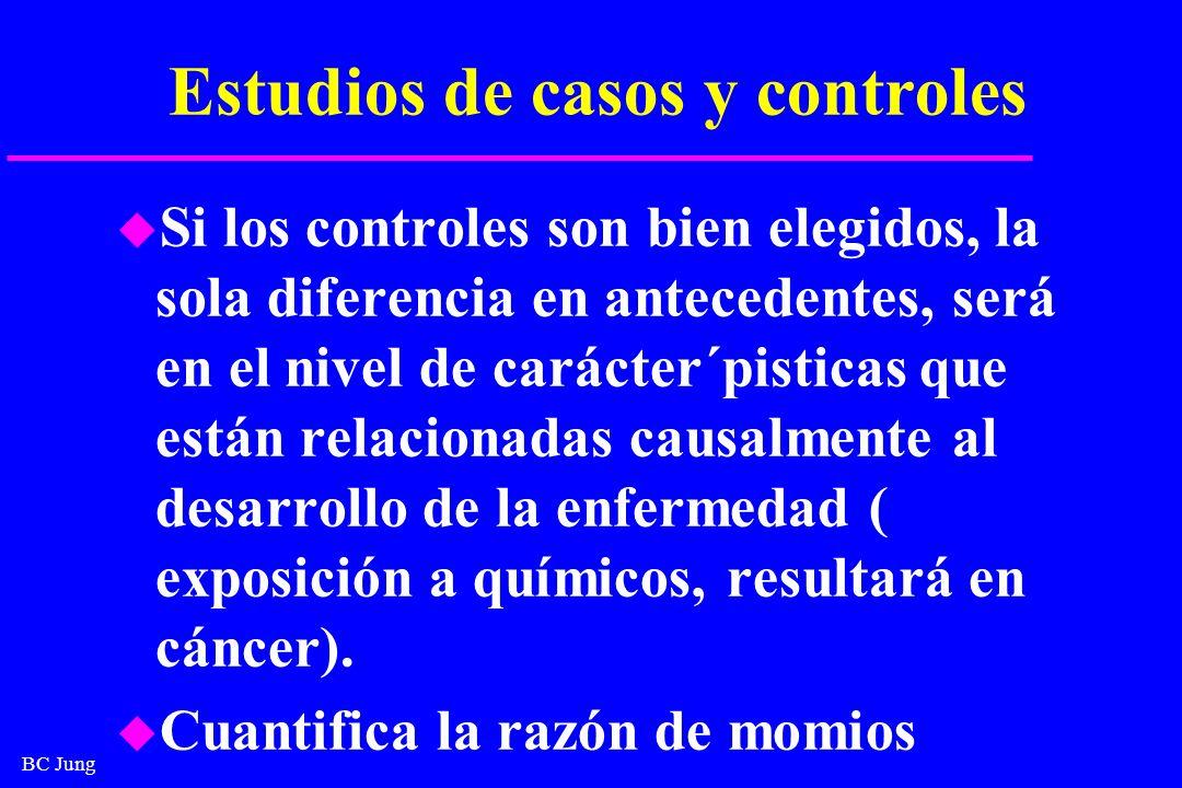 BC Jung Estudios de casos y controles u Si los controles son bien elegidos, la sola diferencia en antecedentes, será en el nivel de carácter´pisticas