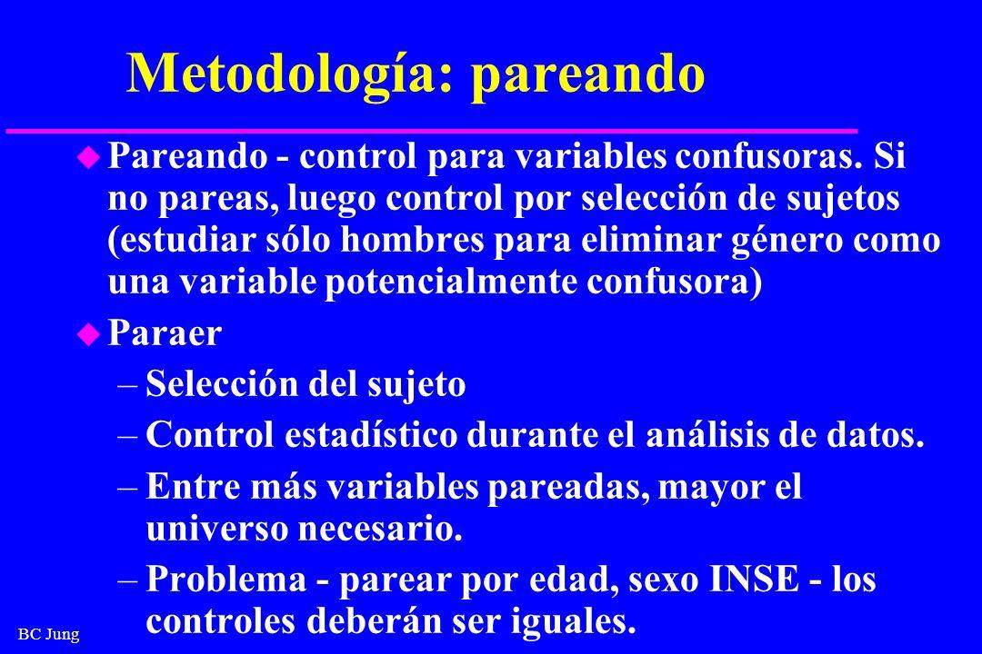 BC Jung Metodología: pareando u Pareando - control para variables confusoras. Si no pareas, luego control por selección de sujetos (estudiar sólo homb